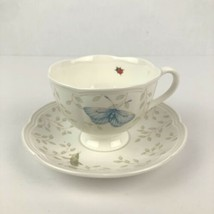 Lenox China Porcelain Butterfly Meadow Tea Cup & Saucer Set Ladybug - $9.89