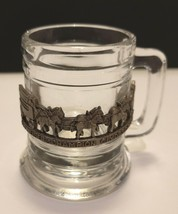 RARE BUDWEISER CHAMPION CLYDESDALE SHOT GLASS WITH PEWTER METAL EMBLEM F... - $14.95