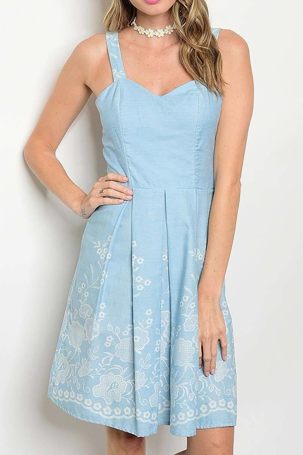Carolina Blue Sun Dress, Floral Embroidery Print, Sweetheart Neckline, Womens