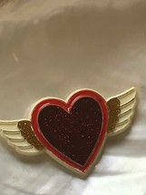Vintage 1984 Hallmark Plastic Sparkly Valentine's Day Heart with Cream Wings Pin - $11.29