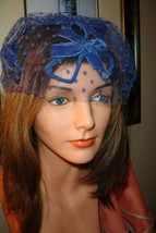 Vtg 50-60s Blue Velvet 4 Loops 3 Bows Veil Net Hat-One size - $23.06