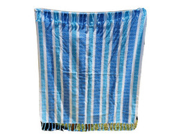 Tommy Hilfiger Beach Blanket Oversize Throw Teal White Tassels Picnic 58... - $33.20