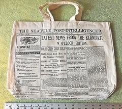 RARE Seattle Post Intelligencer Front Pg NEWSPAPER CANVAS TOTE BAG Shopp... - $24.70