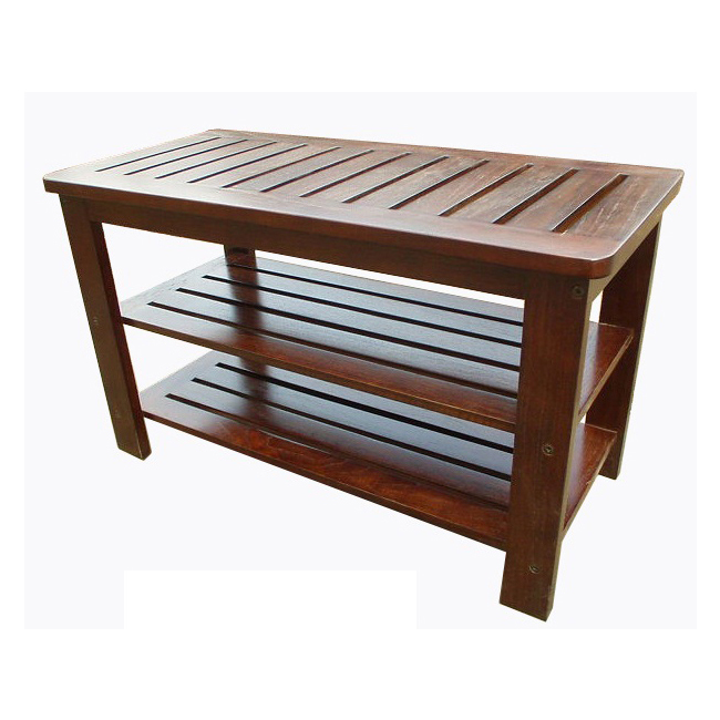 Primary image for D-Art Mahogany Finish Michaela Shoe Storage Bench - STL10-01M