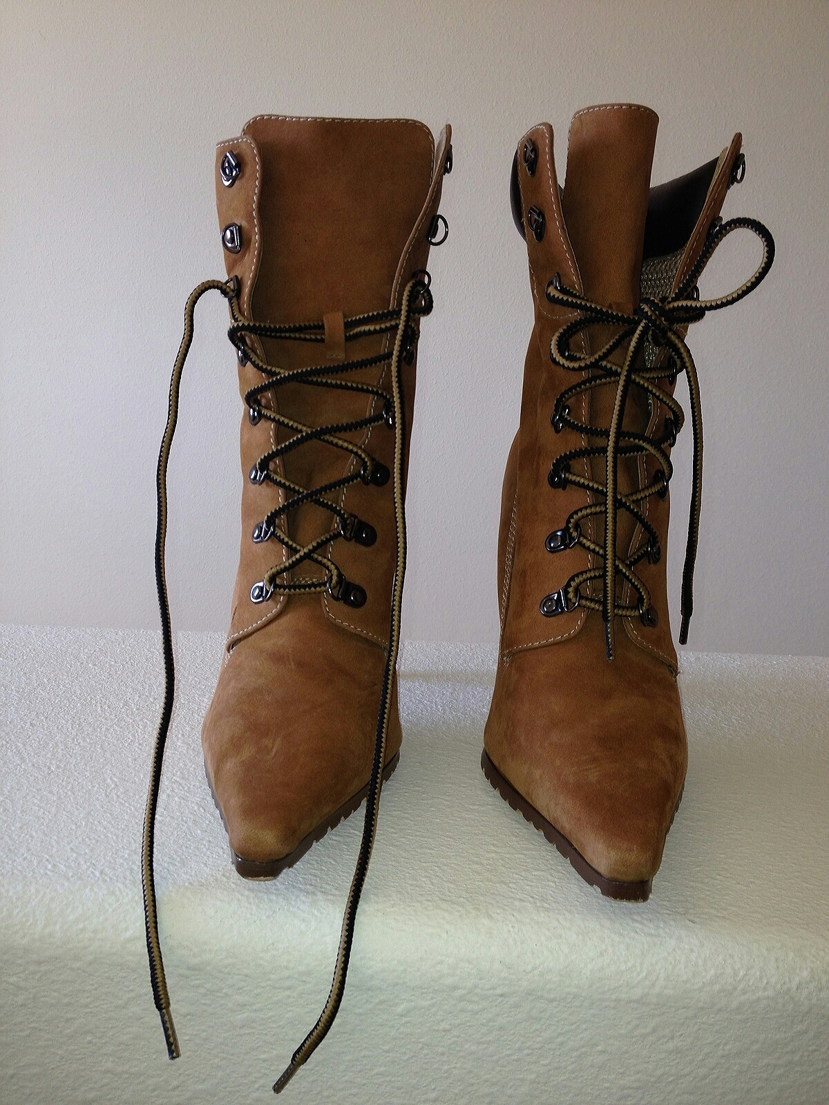 Womens Tan Wheat Suede Workboot Wood Stiletto Booties Boots 9