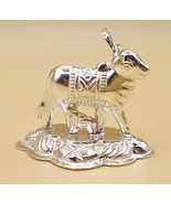999 FINE SILVER KAMDHENU COW WITH CALF STATUE FOR SPECIAL DIWALI PUJA PO... - $19.79