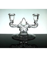 Crystal Candelabra 2 Arm Elegant with Etched Fl... - $14.99