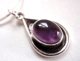 Amethyst Cabochon Oval in Teardrop 925 Sterling Silver Necklace New - $33.24