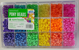 2300+ Assorted Colored Pony Beads Sorted Case Made in USA Plastic Crafti... - $19.75
