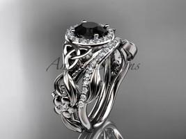 Black Diamond Celtic Wedding Ring Sets Platinum Floral Bridal Set CT7300S - $3,595.00