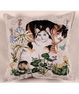 "17"" Cat Kitty Floral Tapestry Cushion Pillow  - $25.00"