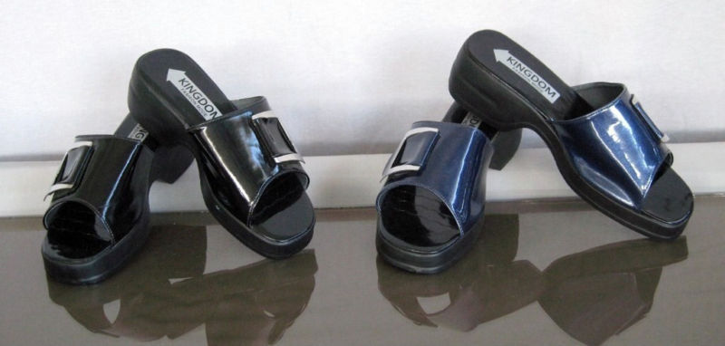 Primary image for BLACK WET LOOK SYNTHETIC WOMEN LADY' CASUAL SANDAL HEEL SZ 7