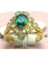18KT GOLD OVERLAY 6X8mm Emerald Cubic Zirconia  ANTIQUE STYLY COCKTAIL R... - $24.50
