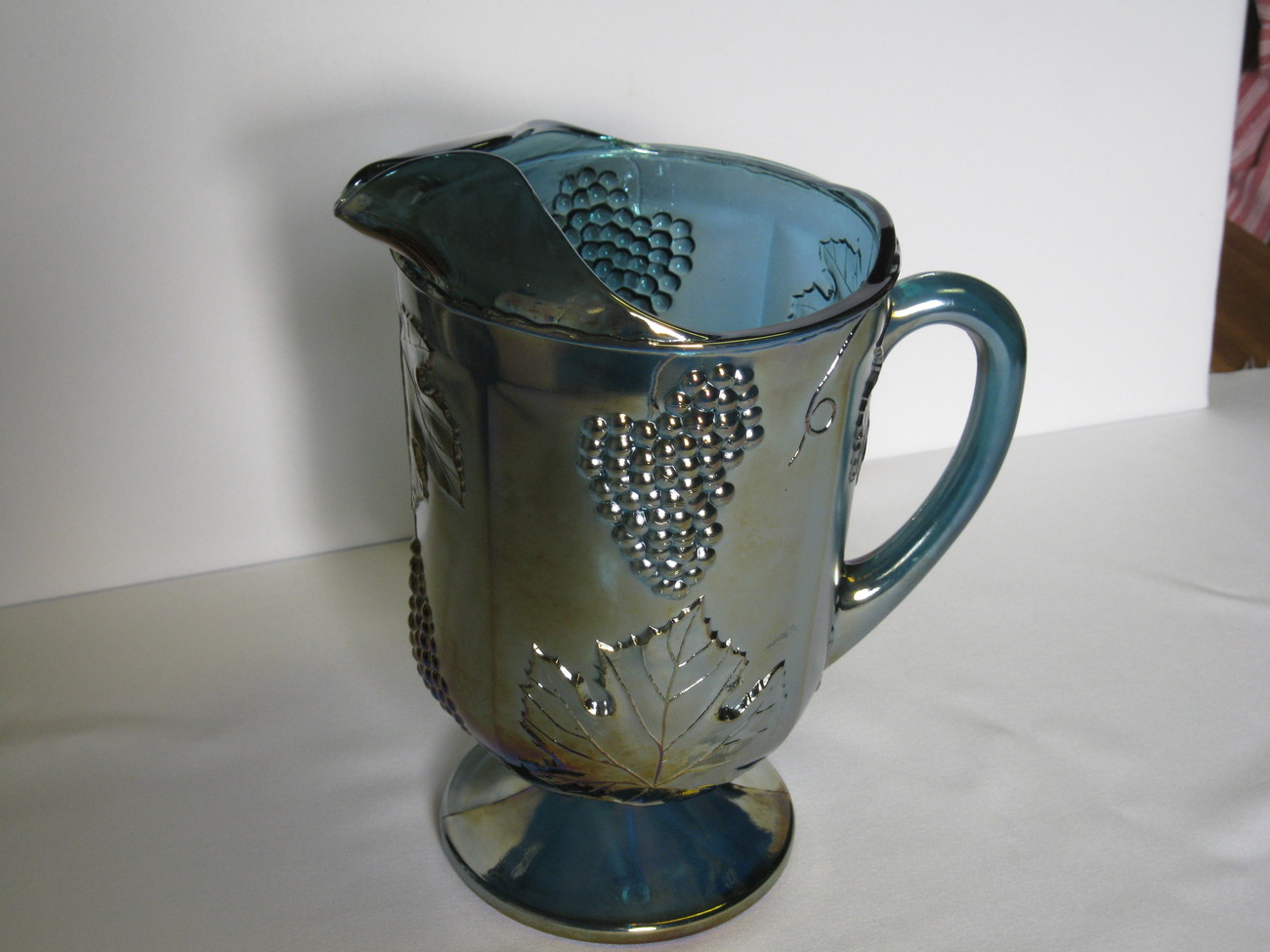 "Indiana Carnival Glass Blue Harvest Grape 10 1/2"" Pitcher USA"