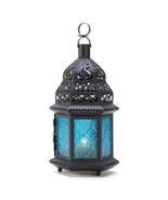 "12"" Blue Glass Moroccan Candle Lantern - $21.00"