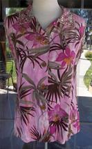 Tropical Floral Beaded Sleeveless Hawaiian Blouse Sz. M - $13.85