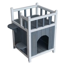 Wood Wooden Cat Pet Home with Balcony Pet House Small Dog Indoor Shelter - $64.30