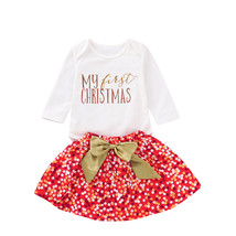 Christmas 3Pcs Clothes Set Newborn Toddler Baby Girl Sequins MY first CH... - $11.69