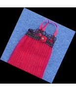 Heidi Ott Dollhouse Lady's Negligee red-black lacy Miniature - $18.50