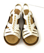 White Reiker Sandals Sz 6 USA Roman Gladiator White Leather Gold Trim Co... - $34.95