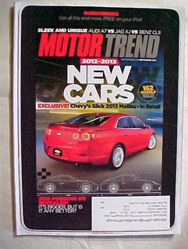 Primary image for MOTOR TREND SEPTEMBER 2011- 2012-2013 NEW CARS; CHEVY'S 2013 MALIBU;2012 PORSCHE