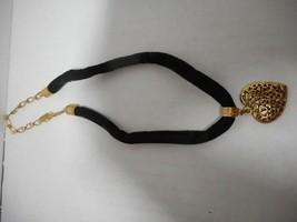 "1928 Black Velvet Choker Necklace Filigree Goldtone Heart Pendant 13-17"" Clasp - $22.76"