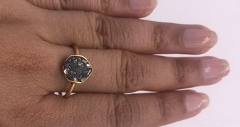 Organic Hammered Resizable Ring .925SterlingSilver GoldFilled with Black Diamond
