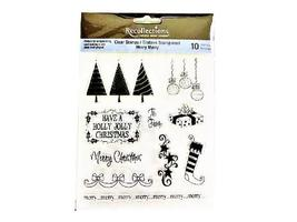 Recollections Merry Merry Christmas Clear Acrylic Stamp Set #11999
