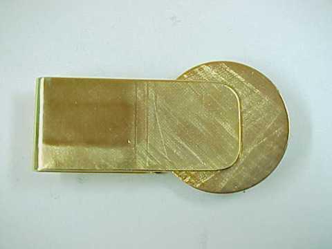 Goldtone Metal Money Clip with Silvertone Train Locomotive