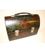 Thermos  Lunch Box  Black Dome Top -Vintage  Hand Painted - $74.00