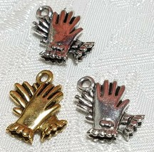 WOMAN'S GLOVES FINE PEWTER PENDANT CHARM image 1