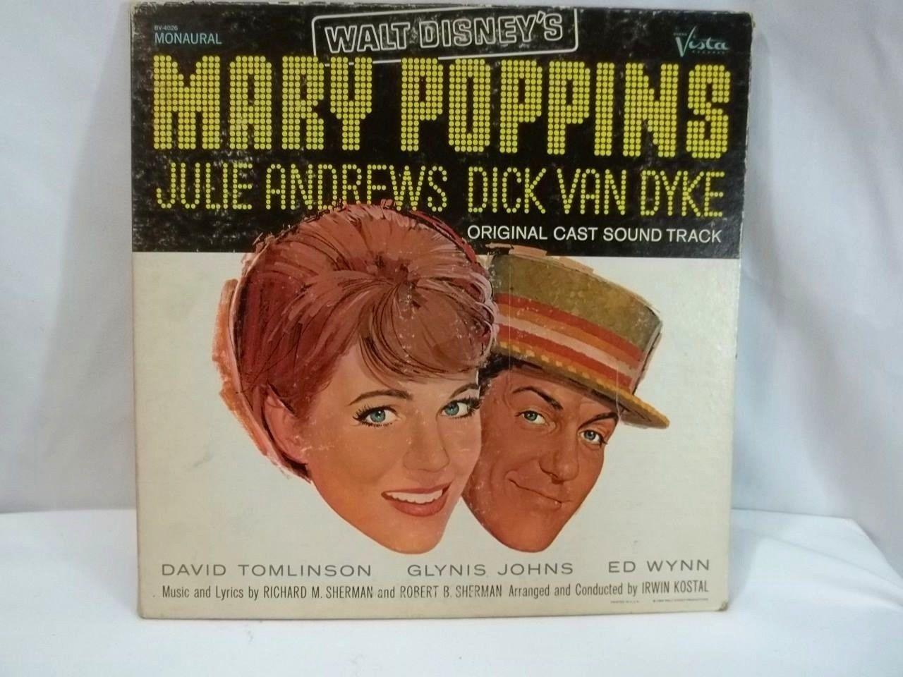 Mary Poppins LP  Walt Disney Original Cast Soundtrack Monaural 33 1/2 Vintage