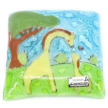 Fused Art Glass Giraffe Mom & Baby Design Square Soap Dish Handmade Ecuador image 2