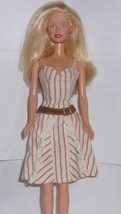 Vintage Barbie White Stripe Halter Cotton Dress w/Ruffles & Belt - $5.50
