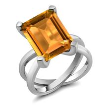 8.20 Ct Octagon Natural Yellow Citrine 925 Sterling Silver  X  Ring For ... - $172.78