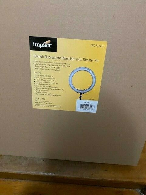"""Brand New  Impact FRC-RLSLB Fluorescent 19"""" Ring Light With Dimmer Kit Free S/H"""