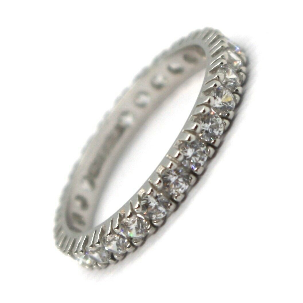 White Gold Ring 750 18K, Eternity, 4 Tips, Thickness 3 mm, Zircon Cubic