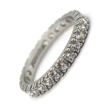 White Gold Ring 750 18K, Eternity, 4 Tips, Thickness 3 mm, Zircon Cubic image 1