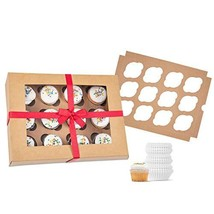 Bakery Cupcake Boxes and Cake Carrier: 4 Treat Holder Storage Boxes - Di... - $13.97