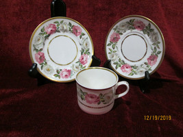 Royal Worcester Royal Garden dotted line trio set cup saucer bread plate - $17.77
