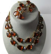 Signed Selro Selini Vintage Lucite & Glass 2 Strand Adjust Necklace Earr... - $138.60