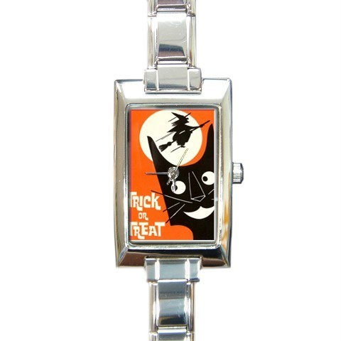 HALLOWEEN BLACK CAT WITCH MOON FUNNY BARREL OR CHARM WATCH