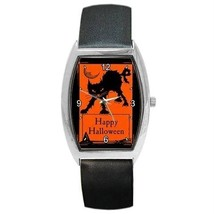 Happy Halloween Scary Black Cat & Moon Barrel Watch Or Charm - $25.99