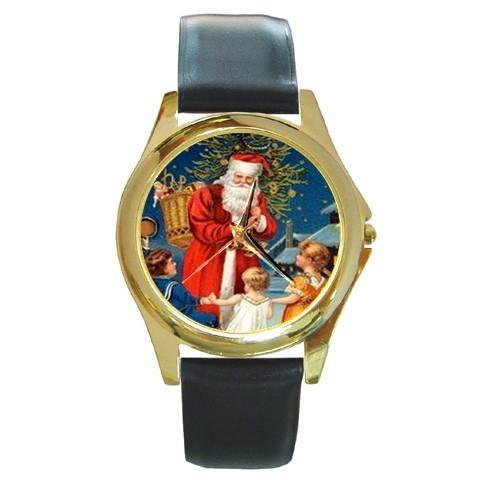 SANTA & CHILDREN CHRISTMAS GOLD-TONE WATCH 9 OTHR STLS SPORT