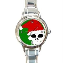 SANTA SKULL FREAKY FUN CHRISTMAS GOLD-TONE WATCH 9 OTHR STYL