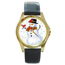 SNOWMAN & CARDINAL CHRISTMAS XMAS GOLD-TONE WATCH 3 OTHER ST - $25.99