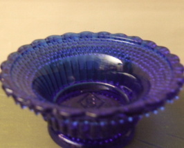 Vintage Boyd Art Glass Ring Dish CW Candle holder Cobalt Mnt