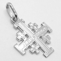 SOLID 18K WHITE GOLD FLAT JERUSALEM CROSS, SMOOTH AND SATIN, MADE IN ITALY image 1