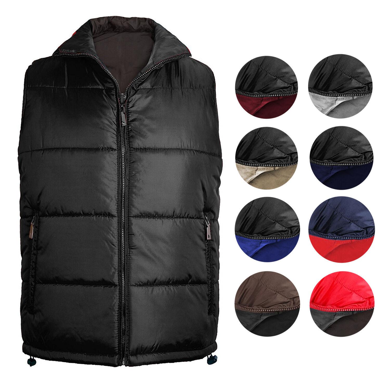 New Men's Premium Zip Up Reversible Water Resistant Insulated Puffer Sport Vest