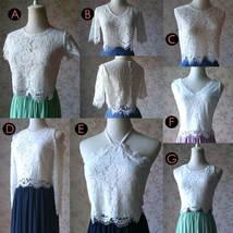 Navy Bridesmaid Sets Dress Full Chiffon Skirt Hollow Long Sleeve Crop Lace Top image 12